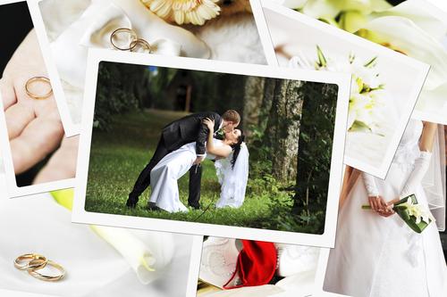 Hochzeitspaar auf Hochzeitsfoto