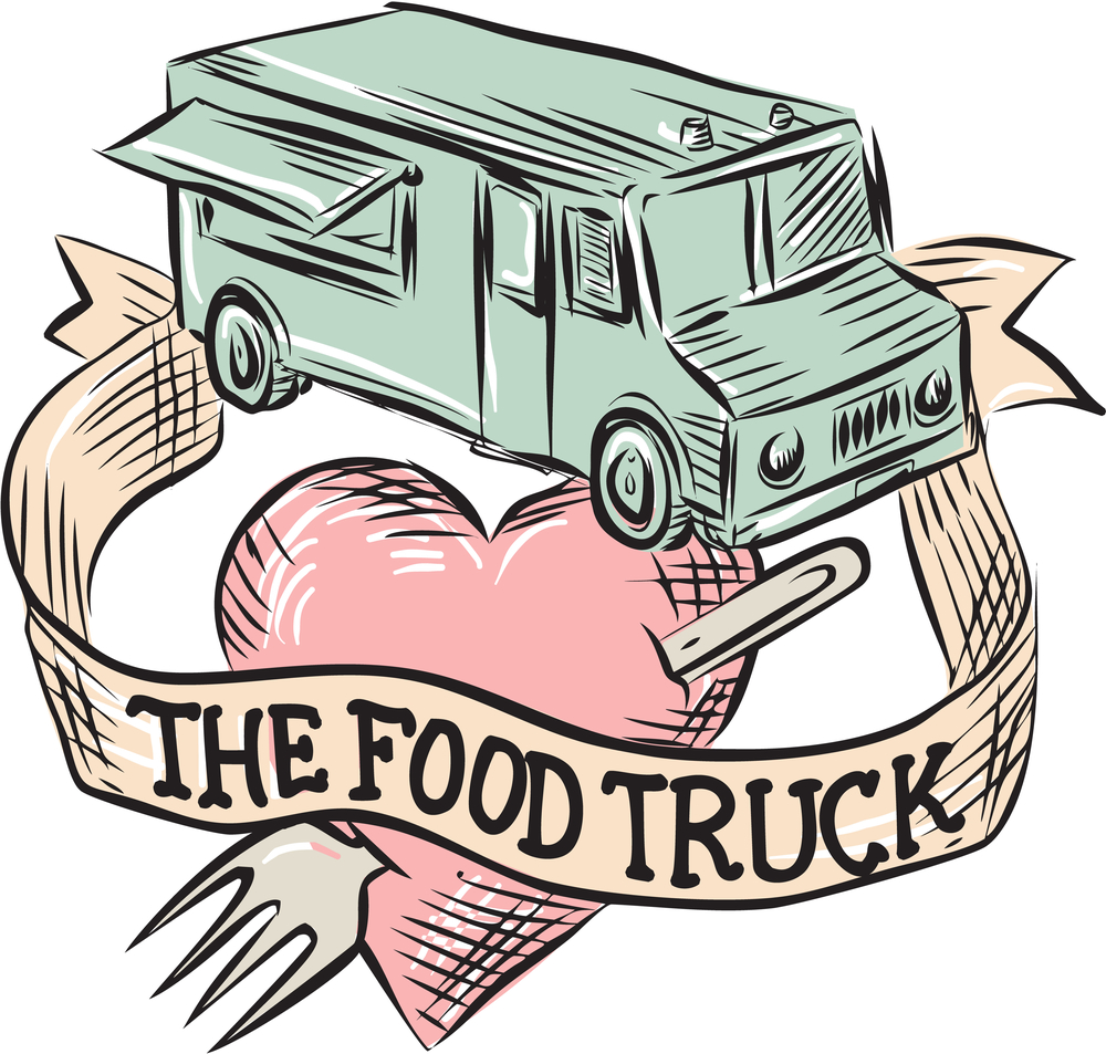 "Etching engraving handmade style illustration of a food truck with heart pierced by a fork with ribbon in front and words ""the food truck"" set on isolated white background viewed from high angle."