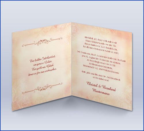 Einladungskarte Zur Goldenen Hochzeit Rote Rose