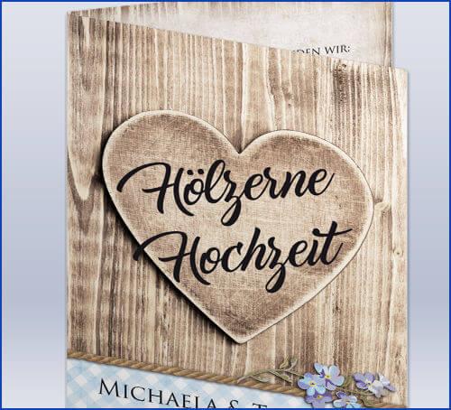 Einladungskarte Holzerne Hochzeit