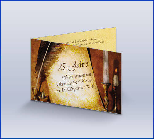 Einladungskarte Silberhochzeit U0027Mittelalteru0027