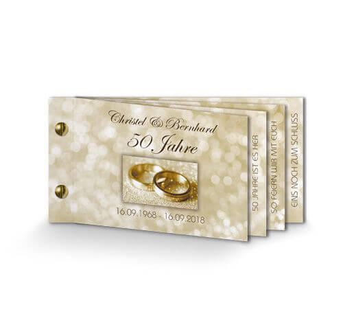Einladung Goldene Hochzeit Klassisch Gold Booklet