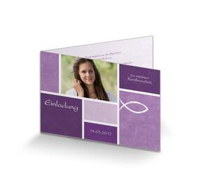 einladung konfirmation klassisch violett