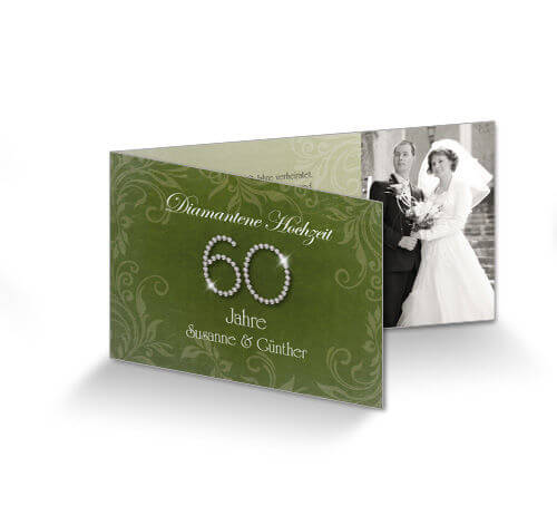 Elegant Einladungskarte Diamantene Hochzeit