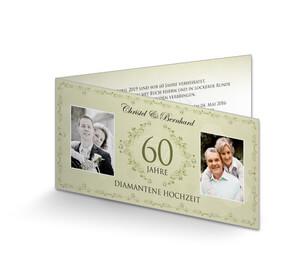 Einladungskarte Diamantene Hochzeit Vintage Grün