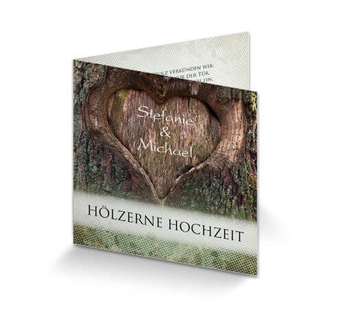 Einladungskarte Holzerne Hochzeit Baumherz