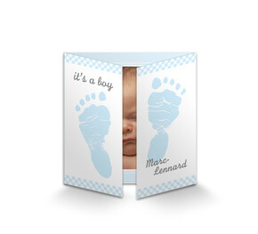 Geburtskarte 'Footprints Baby Boy'