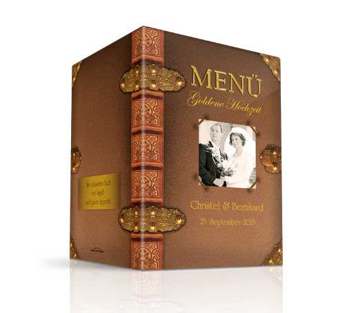 Menükarte Goldene Hochzeit Altes Buch