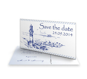 Save The Date Karte Blauer Leuchtturm