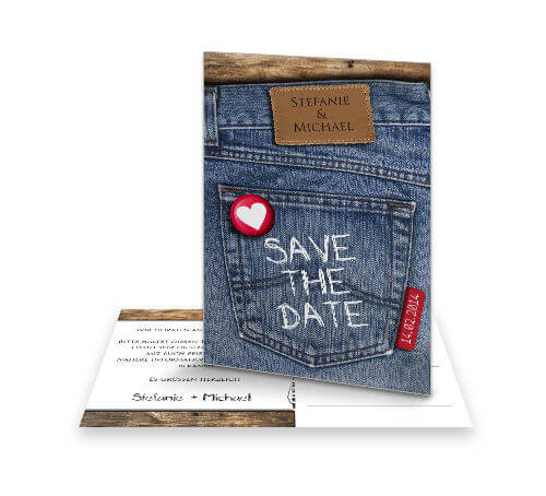Save The Date Karte Jeans