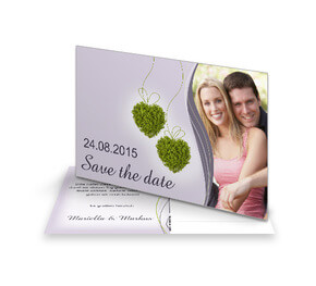 Save The Date Karte Blumenherzen