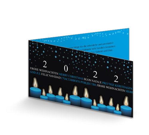 Individuelle Weihnachtskarten.Weihnachtskarte Geschäftlich Blaue Lichter