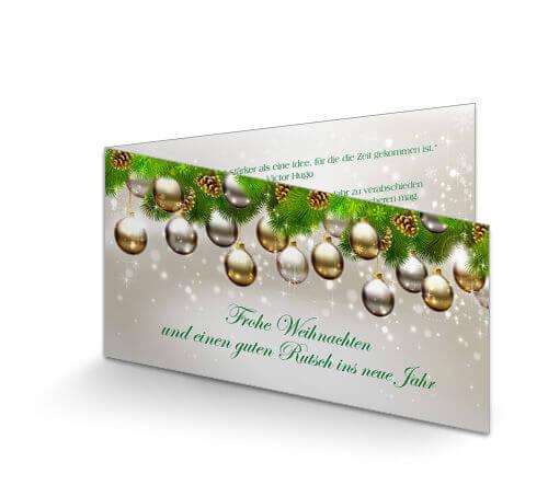 Weihnachtskarten Firma Individuell.Weihnachtskarte Geschäftlich Kugelparade